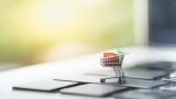 E-commerce trolley on keyboard